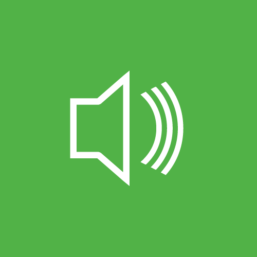 A green sign with an image of a speaker and soundwaves to represent our sound-rated access doors