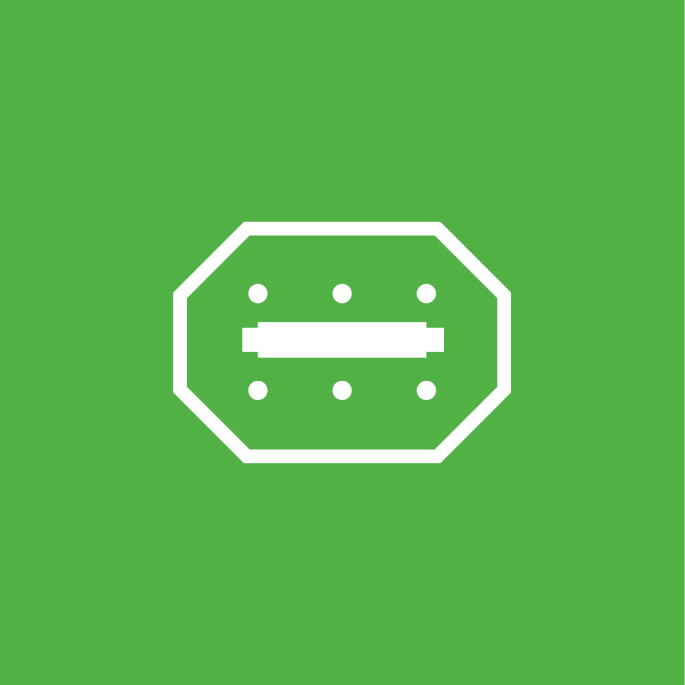 Green Icon represents the HVAC access doors and panels designed for easy access on periodic system cleaning and maintenance.