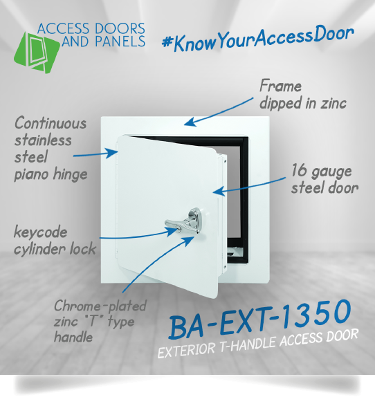 Exterior T-handle access door - BA-EXT-1350 and the background with a text description about the product.