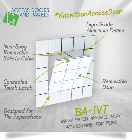 A invisahatch drywall inlay access panel for tiling and a text description about the product.