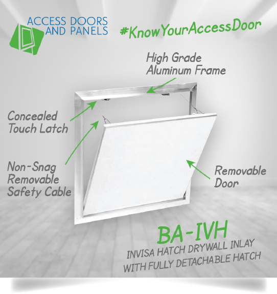A invisahatch drywall inlay with a fully detachable hatch and a text description about the product.