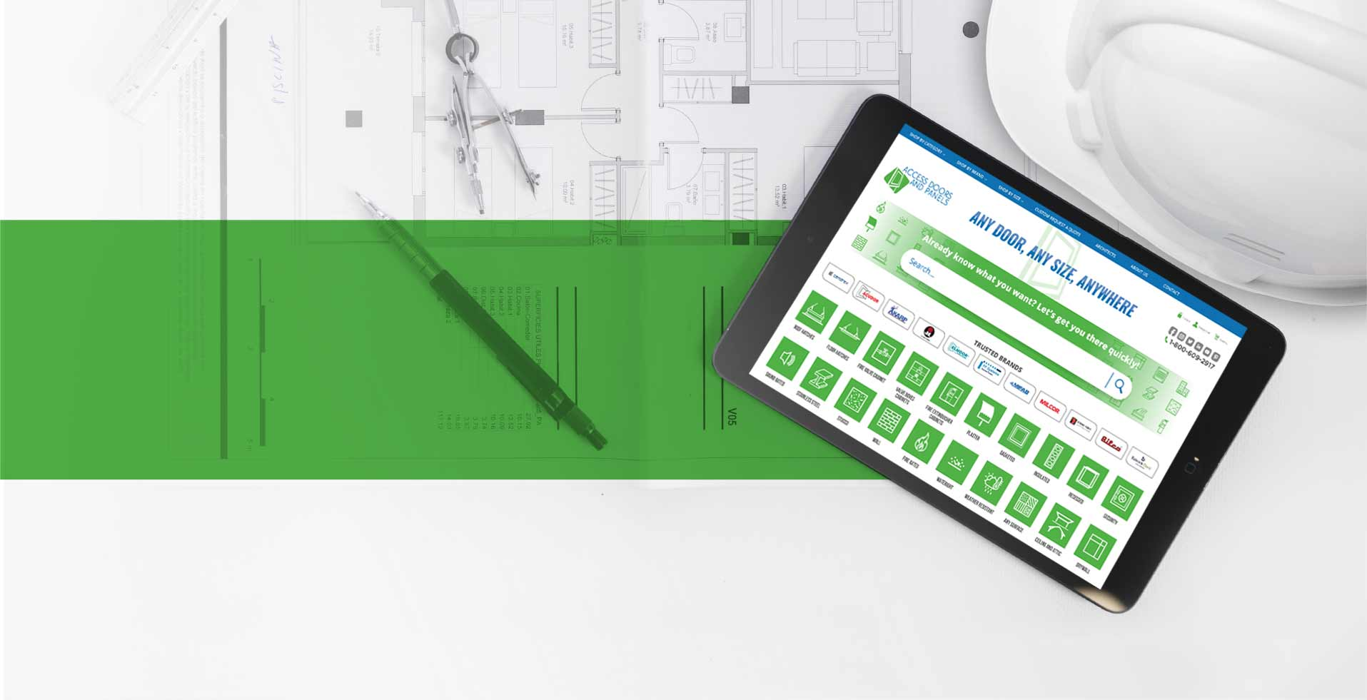 Contractor plan in backgrounds, a tablet, and a text that when you work with access doors and panels you're in good hands.