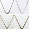 Collage of sterling silver and 14k gold chains
