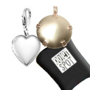 Collage showing Pet EMf Protection BioElectic Shield in Brass and Silver Heart