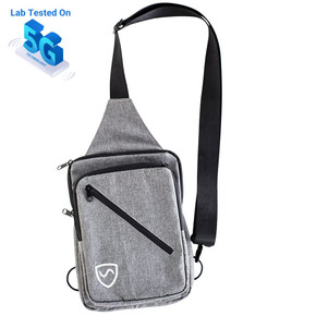 The SYB Sling Bag Makes it Safer to Carry Your Stuff.  5G Tested, up to 20GHz. Also works on 4G/LTE, 3G, WiFi & Bluetooth. Deflects up to 99.9% of wireless EMF radiation from your cell phone away from your body.