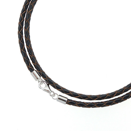 Braided Leather Necklace - Black/Brown Sterling Silver .925 clasp