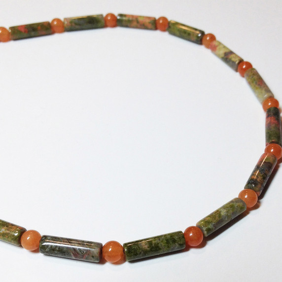 Vital Zest Beaded Chain - Unakite, Carnelian Vital Zest - Carnelian and Unakite Are you working through a lot of change and needing a little extra boost of confidence and optimism. Enhance your creativity, confidence and zest for life as you move though changes with lightness and humor.  Are you in a place of leadership? This is a good choice for you as it will help you connect with your leadership qualities and do it with vitality and zest for life.  Motivation and action are supported, helping you move through inertia to get things done.