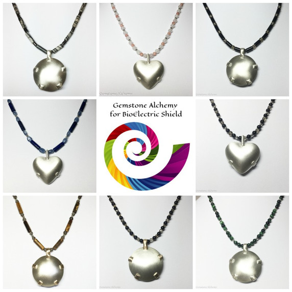 Collage of some of the beaded chains by Gemstone Alchemy