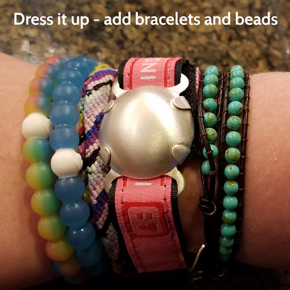 Satin Level 2 Shield on Pink ID band, with extra beads and bracelets added by wearer