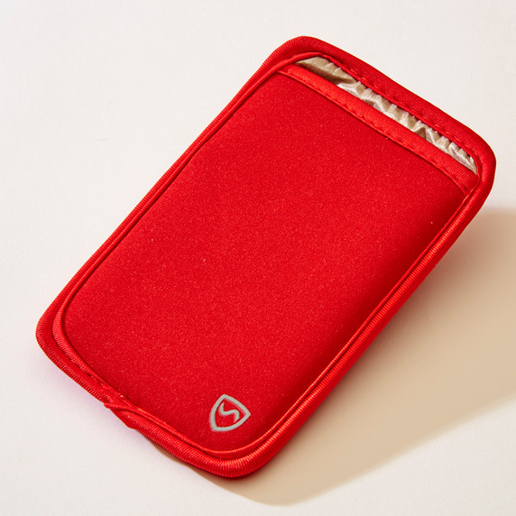 SYB Vertical Pouch for Cell phone EMF Protection Red Pouch YB is the maker of the ORIGINAL EMF Phone Pouch. Don't trust lower quality competitor knock-offs.  The SYB Phone Pouch is a simple and affordable way to carry your cell phone and reduce your exposure to harmful wireless radiation.  Deflects up to 99% of wireless EMF radiation from your cell phone away from your body.