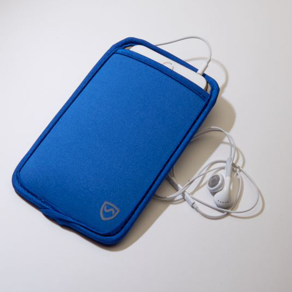 SYB Vertical Pouch for Cell phone EMF Protection Blue Pouch with white headset YB is the maker of the ORIGINAL EMF Phone Pouch. Don't trust lower quality competitor knock-offs.  The SYB Phone Pouch is a simple and affordable way to carry your cell phone and reduce your exposure to harmful wireless radiation.  Deflects up to 99% of wireless EMF radiation from your cell phone away from your body.