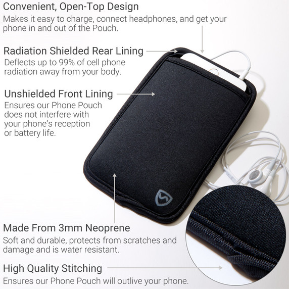 Carry your phone more safely with this SYB cell phone pouch now in colors YB is the maker of the ORIGINAL EMF Phone Pouch. Don't trust lower quality competitor knock-offs.  The SYB Phone Pouch is a simple and affordable way to carry your cell phone and reduce your exposure to harmful wireless radiation.  Deflects up to 99% of wireless EMF radiation from your cell phone away from your body.