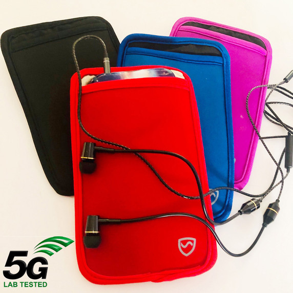 Carry your phone more safely with this SYB cell phone pouch now in colors SYB is the maker of the ORIGINAL EMF Phone Pouch. Don't trust lower quality competitor knock-offs.  The SYB Phone Pouch is a simple and affordable way to carry your cell phone and reduce your exposure to harmful wireless radiation.  Deflects up to 99% of wireless EMF radiation from your cell phone away from your body.