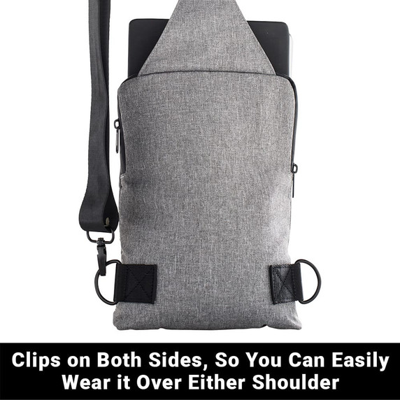 SYB Sling Bag - Includes two clips, so can be worn over either shoulder, with adjustable-length strap.