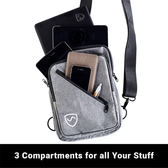 SYB sling bag measurements Has 3 compartments to carry lots of stuff.