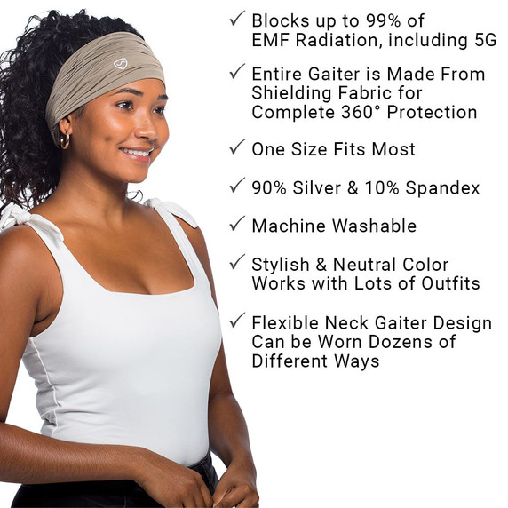 SYB - EMF - 5G Protection Neck Gaiter - block ups to 99% of EMF radiation, including 5G