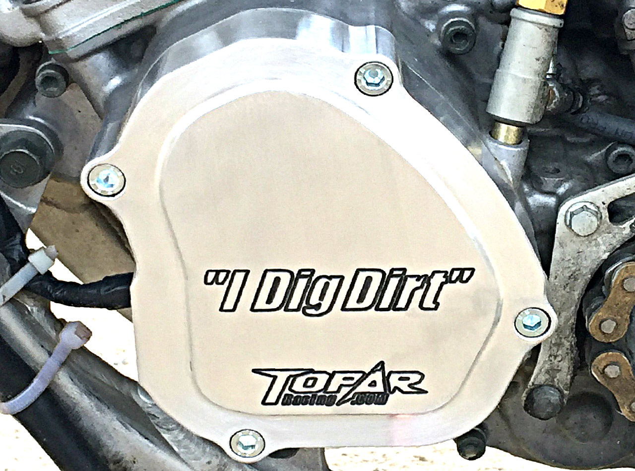 Topar Racing Ignition Cover for 2006-2019 YAMAHA YZ125 - Billet Aluminum shown here with an example of Optional CUSTOM ENGRAVING. Call to Special Order.  (719-846-9458)
