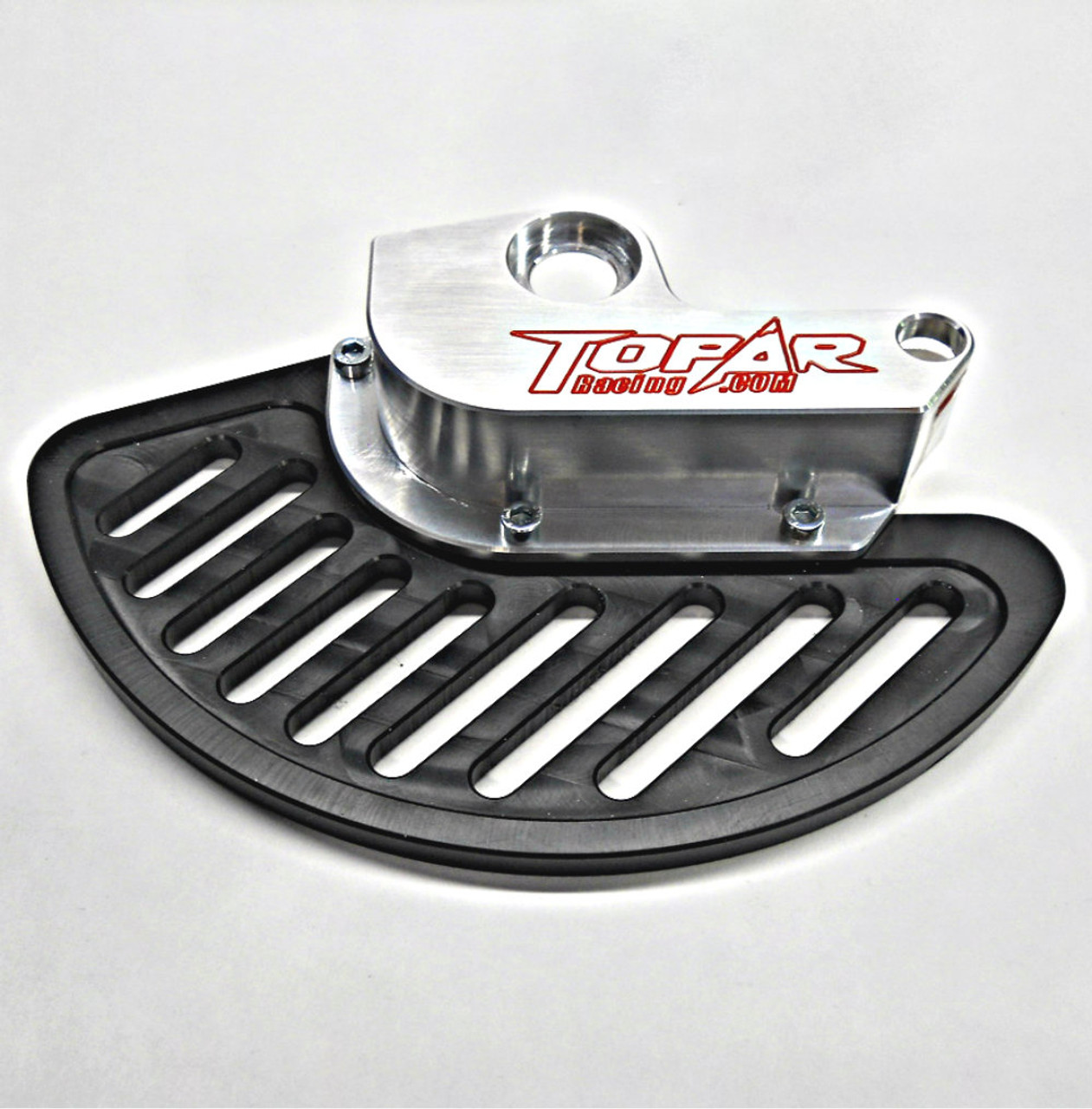 Topar Racing Front Brake Disc Rotor Guard for 2003-2006 KTM - ALL MODELS 125cc to 525cc shown with aluminum fin and no caliper guard and UHMW Plastic Fin option