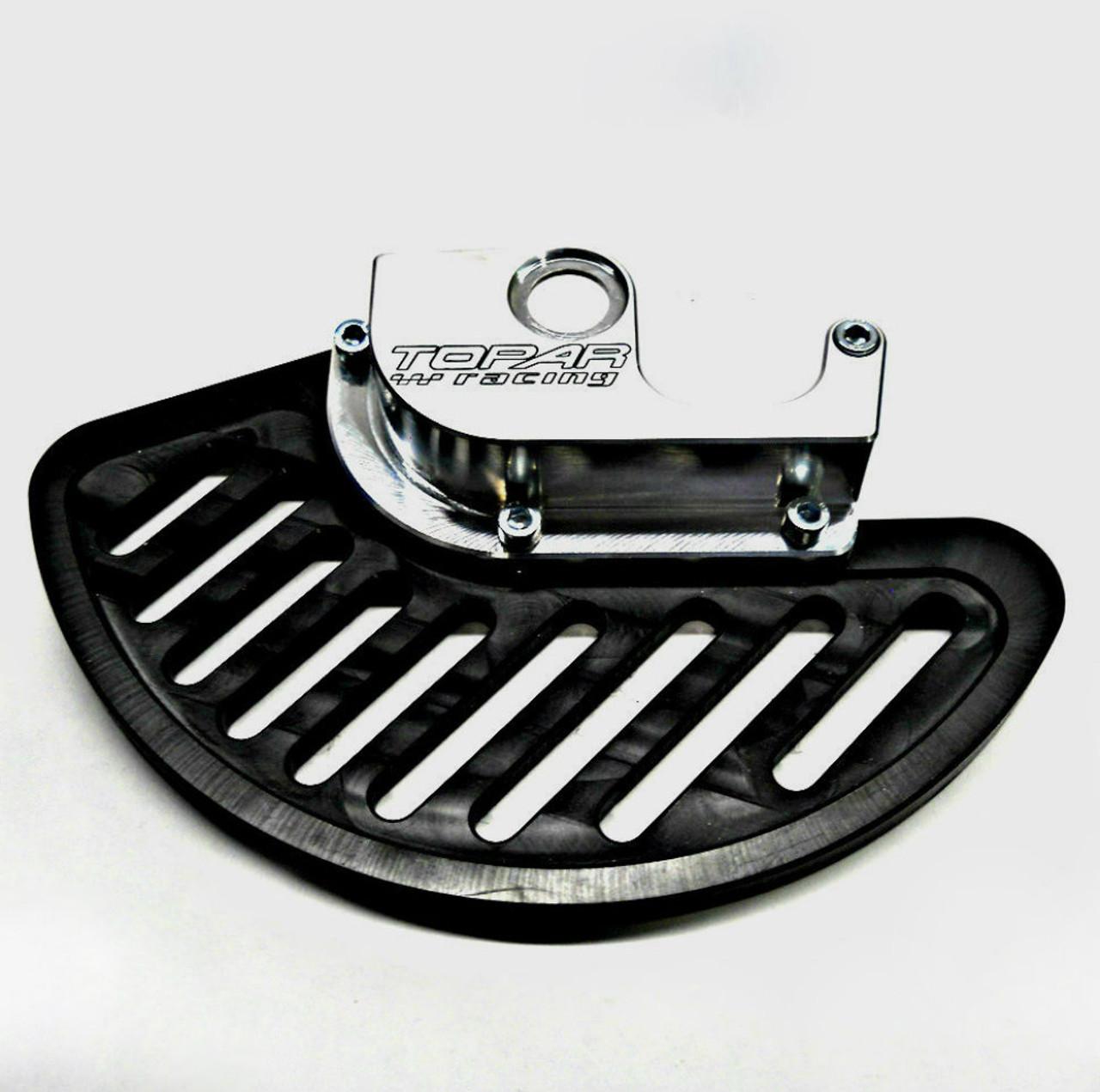 Topar Racing Front Brake Rotor Disc Guard for 2004-2005 KAWASAKI KX125, KX250F; 2004-2006 KX250 (shown with UHMW Plastic fin)