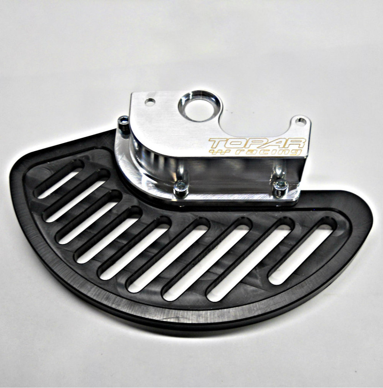 Topar Racing Front Brake Rotor Disc Guard for 2001-2006 SUZUKI RM125 and RM250 (SHOWN WITH UHMW PLASTIC FIN)