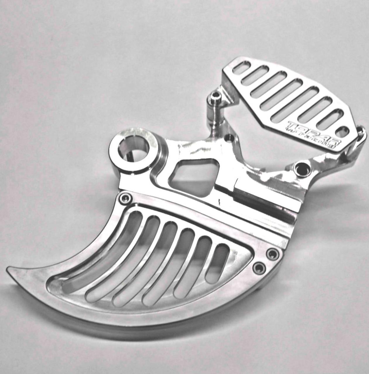 Topar Racing Rear Brake Disc Rotor Guard For All  2006-2020 YAMAHA 125cc-450cc (YZ,YZF,YZX,YZFX,WR,WRF) 2019 YZ250F (20mm or 25mmAxle Diameter) - ( Shown with Optional Caliper Guard and Aluminum Fin)