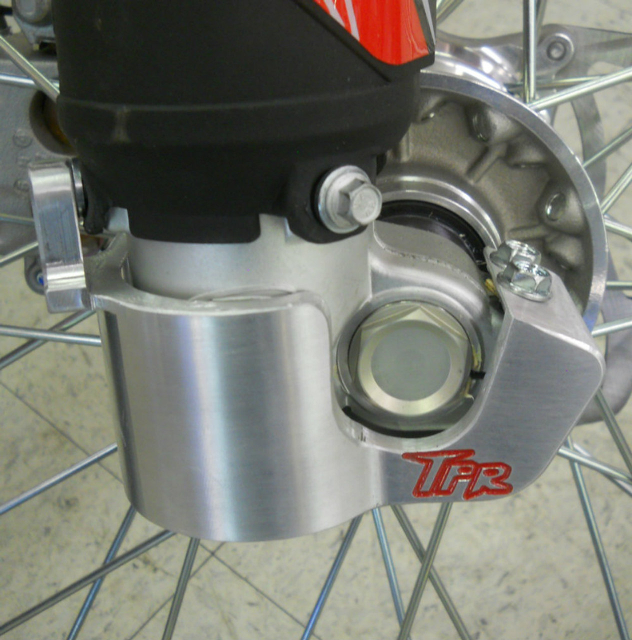 Topar Racing Lower Fork Leg Guard for 2016-2018 BETA - All Enduro, 2T, 4T, RR, RR-S, RS with SACHS Forks Shown On Bike - Side View