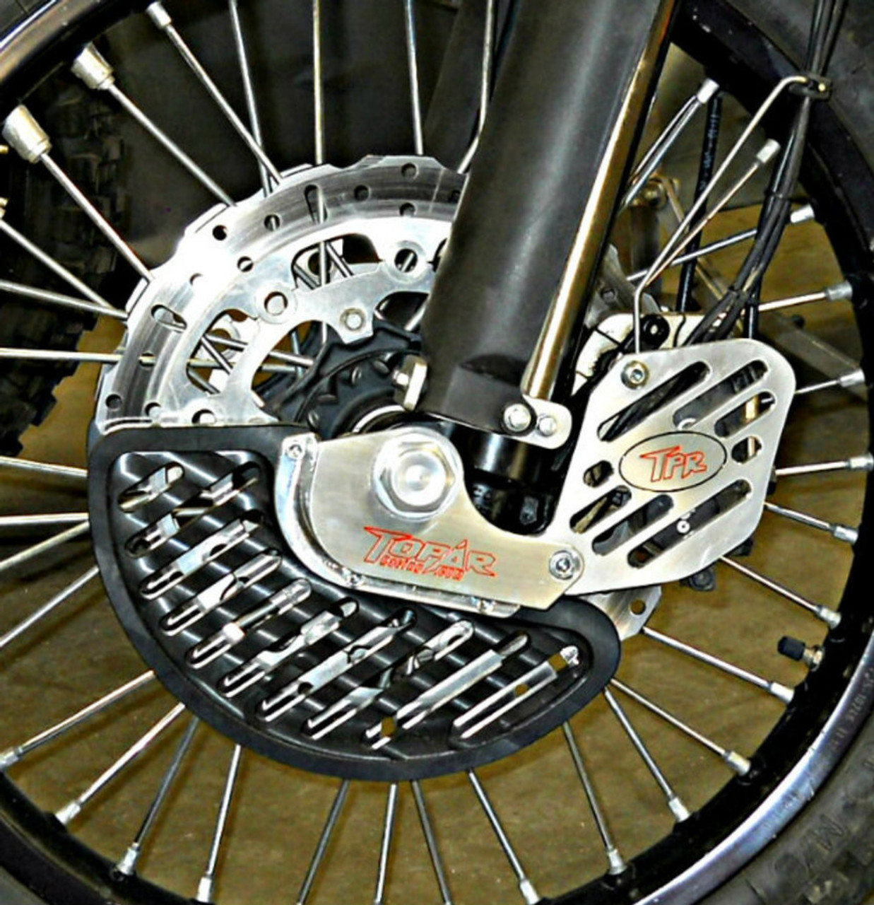 Topar Racing Front Brake Rotor Disc Guard for 2014-2018 KTM 690R Enduro (Complete Kit shown on Bike with Optional UHMW Fin and Caliper Guard)