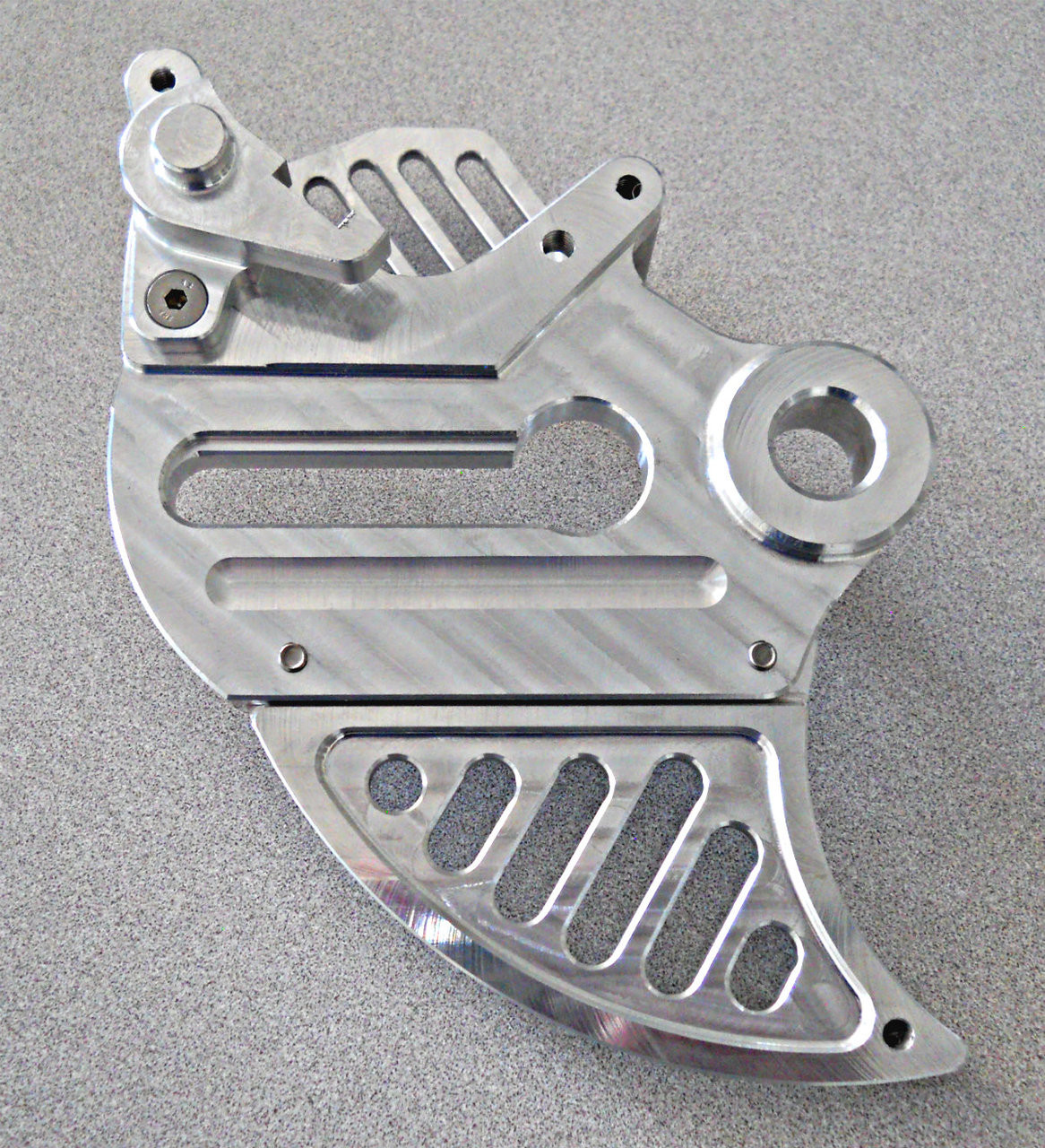 Topar Racing Rear Brake Rotor Disc Guard For All  2013-2020 GAS GAS 200cc-300cc Models ( Back Side View - Shown with Optional Caliper Guard and with an Aluminum Fin)