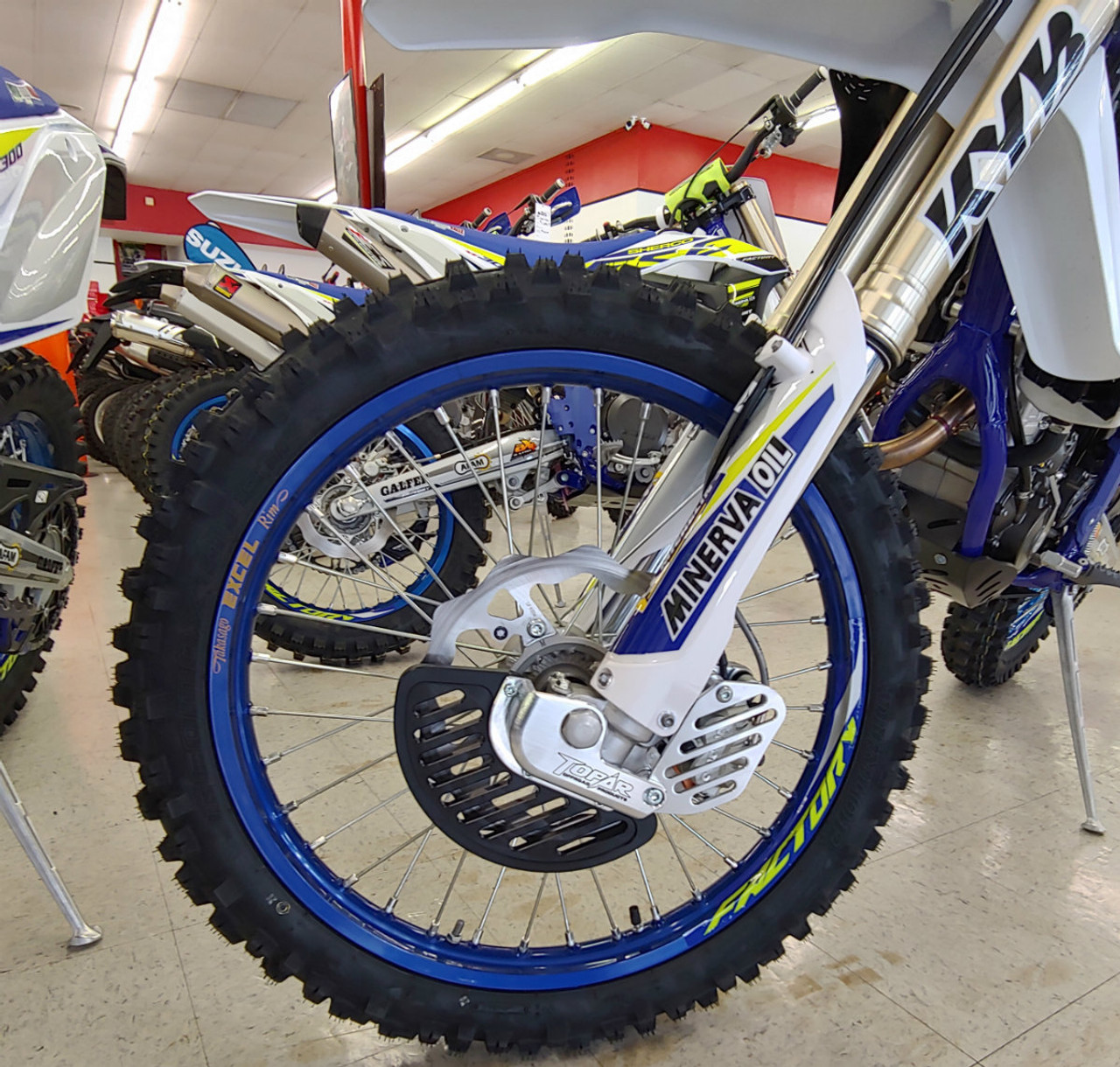 Topar Racing Front Brake Rotor Disc Guard  for 2016-2020 SHERCO with WP, WP Explorer or KYB Forks (shown here installed on a bike with the optional UMHW Plastic fin and caliper guard