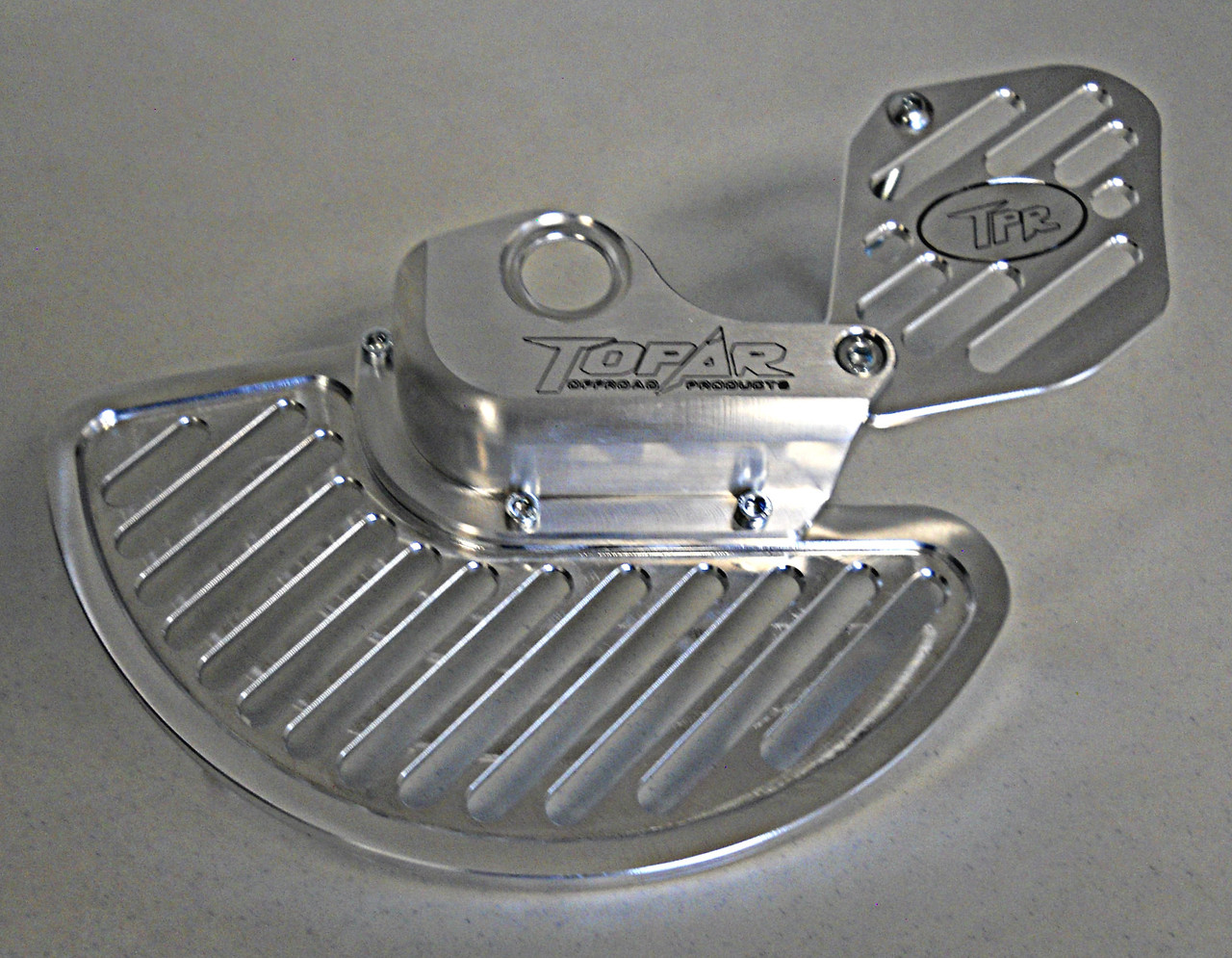 Topar Racing Front Brake Rotor Disc Guard for 2015-2020 HUSQVARNA with WP Forks (shown here with the Aluminum fin and optional caliper guard