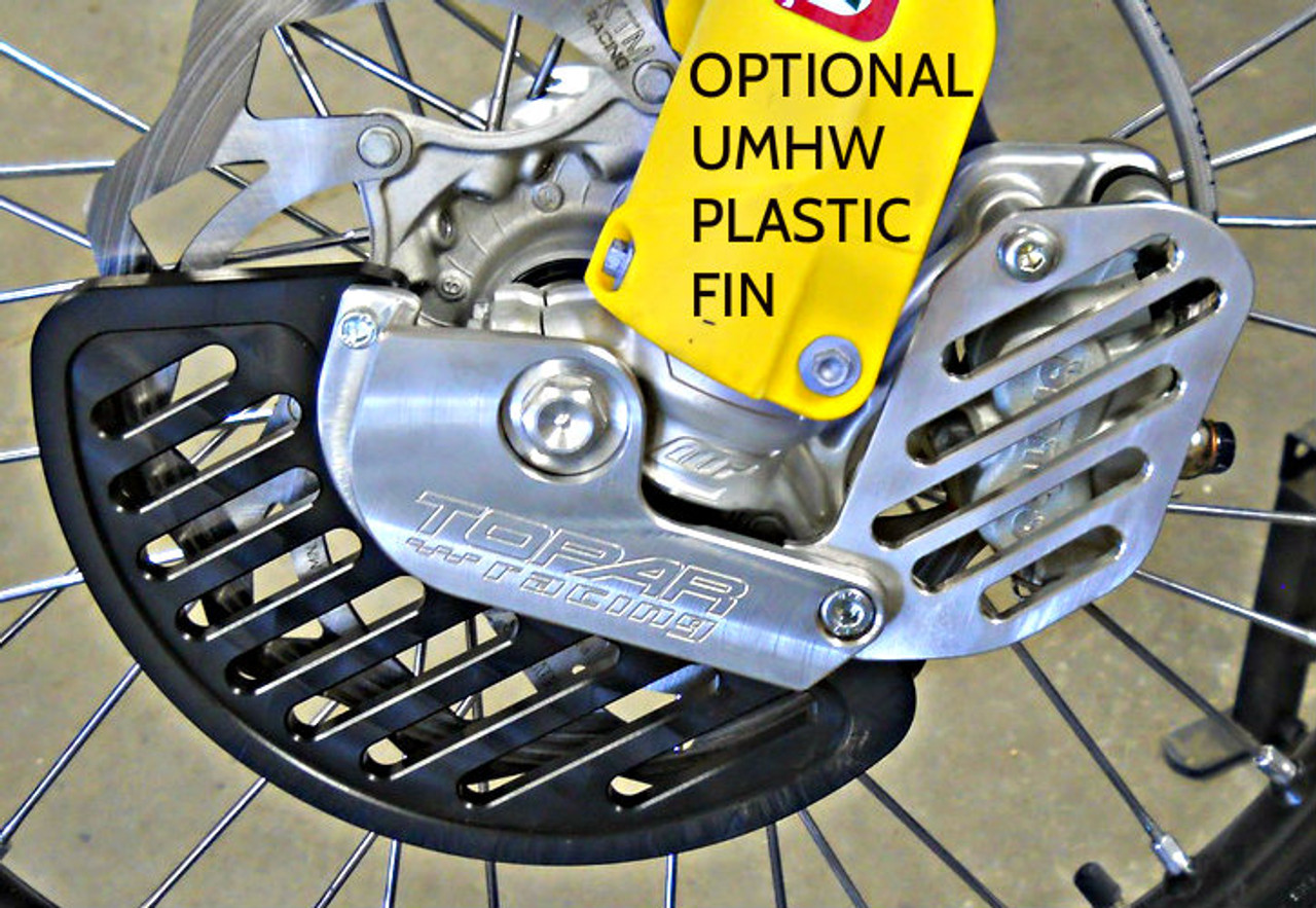 Topar Racing Front Brake Rotor Disc Guard for 2014-2015 KTM HUSQVARNA (NOT FOR WP FORKS- shown with optional caliper guard) Picture shows installation on bike with optional UHMW plastic fin