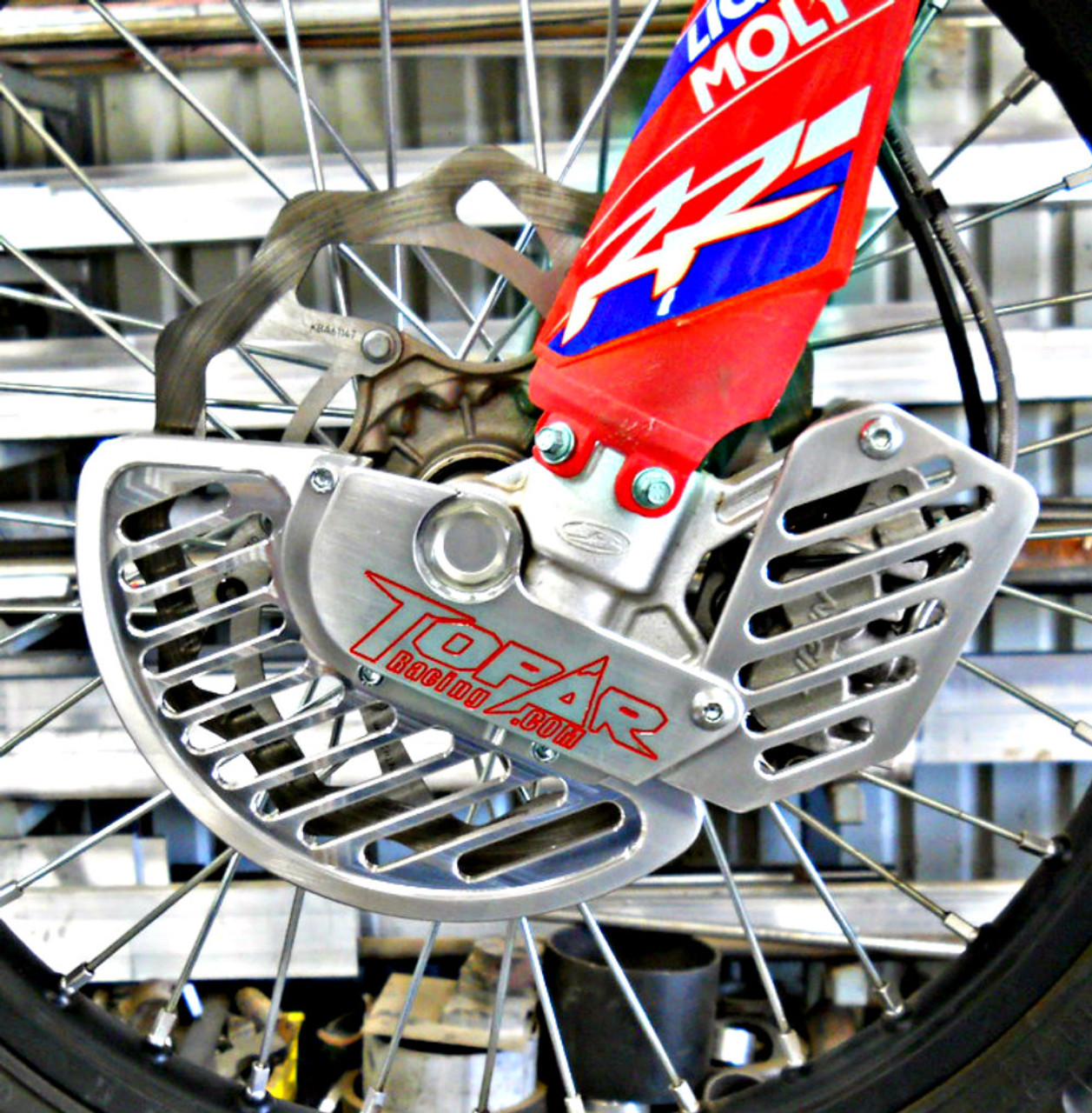 Topar Racing Front Brake Rotor Disc Guard for 2018-2020 BETA - All with KYB or ZF FORKS ONLY  (SHOWN ON BIKE with ALUMINUM FIN and OPTIONAL CALIPER GUARD).