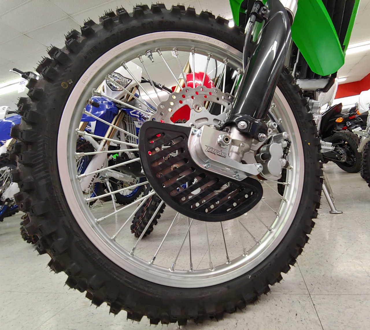 Topar Racing  Front Brake Rotor Disc Guard for 2009-2021 KAWASAKI KLX250 and KLX300  Shown here with UHMW Fin