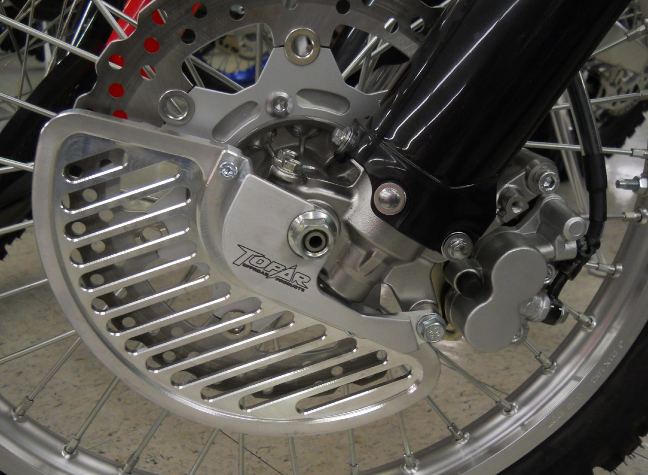 Topar Racing  Front Brake Rotor Disc Guard for 2009-2020 KAWASAKI KLX250 and KLX300  Shown Closeup here with Aluminum Fin