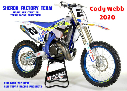 Cody Webb's 2020 Sherco Race bike with Topar Racing Guards