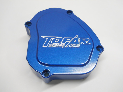 Topar Racing Ignition Cover for 2005-2021 YAMAHA YZ125 - Billet Aluminum shown here with Optional ENDUROKOTE in ANO-BLUE.  Call to Special Order: Available in Gold, Black, Ano-Red (719-846-9458)