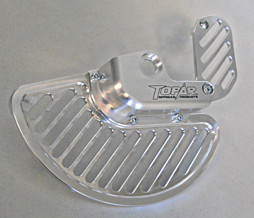 Topar Racing Front Brake Rotor Disc Guard for 2015-2021 KTM with WP Forks (shown here with the Aluminum Fin and the optional caliper guard