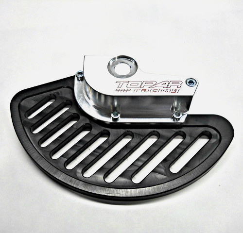 Topar Racing Front Brake Rotor Disc Guard for 1999-2001 HONDA CR250R shown with UHMW Plastic Fin and no caliper guard