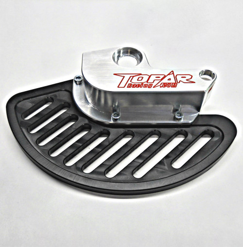 Topar Racing Front Brake Rotor Disc Guard for 2000-2002 KTM ALL MODELS 125cc to 525cc  shown with optional UHMW Plastic Fin and no caliper guard