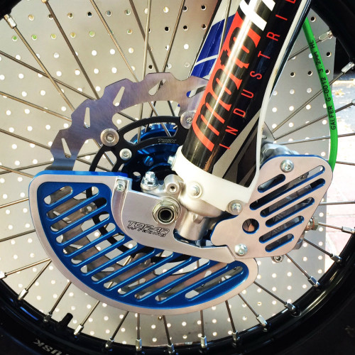 Topar Racing  Front Brake Rotor Disc Guard for 2007-2018 KAWASAKI KX250F and 450F Shown here with High Contrast EnduroCote Option on Fin and Caliper Guard - Call for Pricing and to Special Order