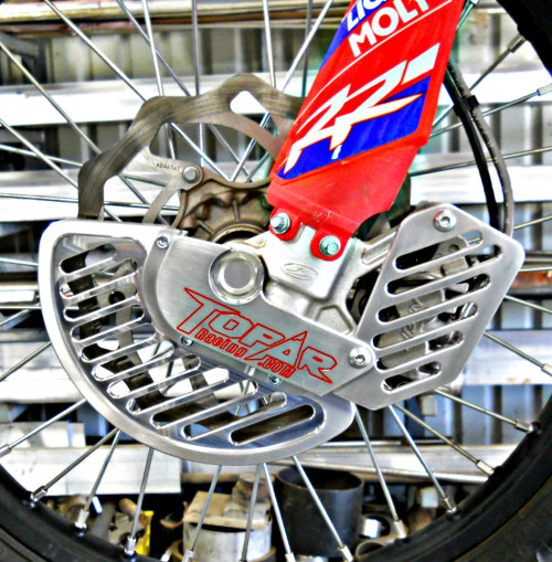 Topar Racing Front Brake Rotor Disc Guard for 2010-2018 BETA - All Enduro, 2T, 4T, RR, RR-S and RS with ALUMINUM FIN (SHOWN ON BIKE WITH OPTIONAL CALIPER GUARD) Fits Both Marzocchi and Sachs but NOT ZF Forks