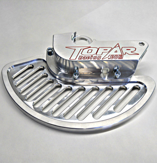 Topar Racing Front Brake Rotor Disc Guard for 2010-2018 BETA - All Enduro, 2T, 4T, RR, RR-S and RS with ALUMINUM FIN (SHOWN WITHOUT CALIPER GUARD)  Fits Both Marzocchi and Sachs but NOT ZF Forks