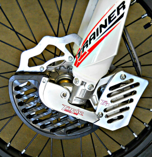 Topar Racing Front Brake Rotor Disc Guard for 2016-2018 BETA X-Trainer shown on bike  with Optional Caliper Guard and Optional UHMW Plastic Fin(Only for SACHS Forks)