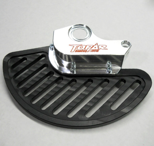 Topar Racing Front Brake Rotor Disc Guard (Left Side) for 2009-2012 KTM 950 and 990 ADVENTURE Models  Shown with UHMW Fin option and no Caliper Guard