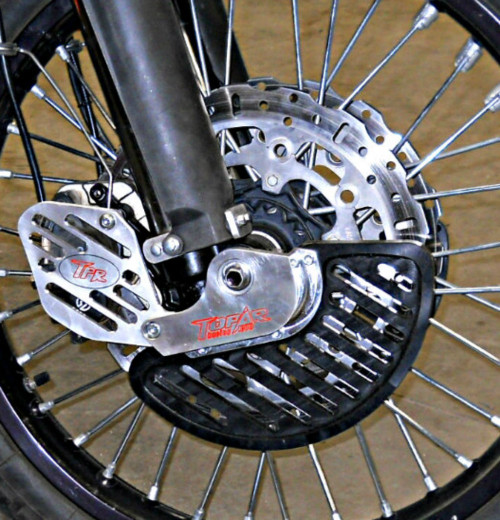 Topar Racing Front Brake Rotor Disc Guard - RIGHT SIDE - for 2009-2012 KTM 950 and 990 ADVENTURE Models (SHOWN here as a Complete Kit  installed on a bike with UMHW Plastic Fins and Optional Caliper Guards
