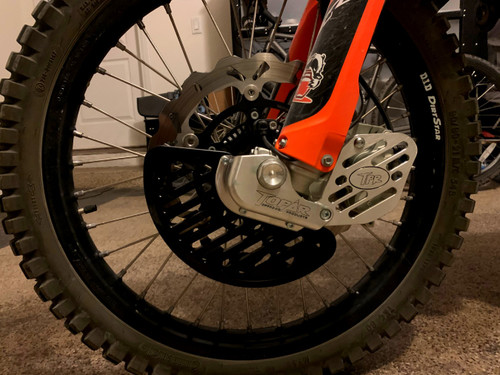 Topar Racing Front Brake Rotor Disc Guard for 2014-2020 KTM 690R Enduro (Shown with Optional UHMW Fin and Caliper Guard)