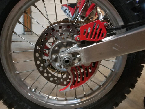 Topar Racing Rear Brake Rotor Disc Guard for 2016-2020 HONDA CRF250R,RX; CRF450R,RX - Shown with Options:  Caliper Guard 130-302  and High Contract Red EnduroCote