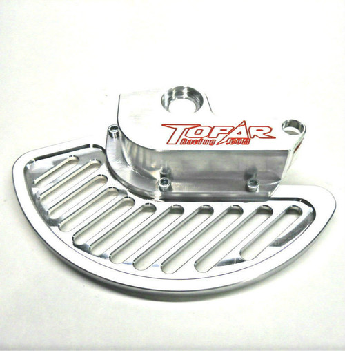 Topar Racing Front Brake Rotor Disc Guard for 2016-2021 SHERCO with WP, WP Explorer or Sherco KYB Forks (shown here installed on a bike with the aluminum fin and no caliper guard