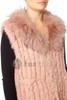 Long Pink Coney and Fox Fur Gilet (detachable collar) RFD59A-06