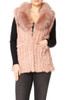 Long Pink Coney and Fox Fur Gilet (detachable collar)